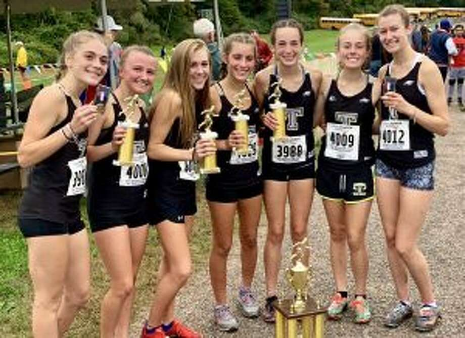 Emily Alexandru, Maggie LoSchiavo, Kali Holden, Alessandra Zaffina, Calyn Carbone, Rebecca Margolnick and Sabrina Orazietti helped the Trumbull varsity finish third in the Championship Race at the Wickham Invitational.