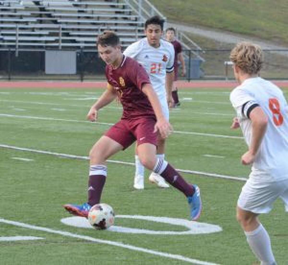 The Cadets' Sawyer Meehan works the ball past a defender. - Andy Hutchison photo