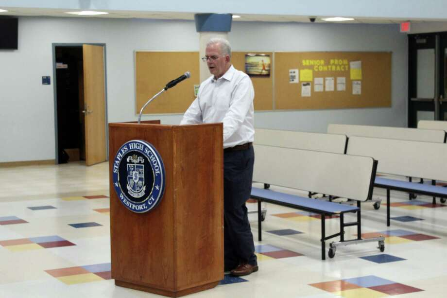 CMS Building Committee Chairman Donald O'Day speaking at the Board of Education meeting Monday night. Taken June 3, 2019 in Westport. Photo: Lynandro Simmons/Hearst Connecticut Media