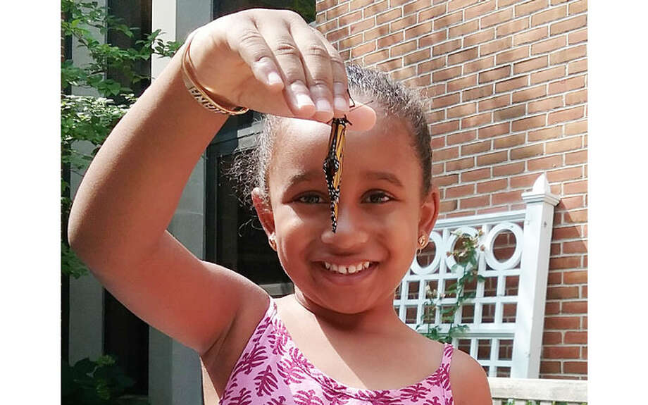 Quiana Leslie, age 4 and a student at Jane Ryan School, was visiting the Nature Nook when a Monarch butterfly was ready to be released. Quiana, who loves butterflies, has a butterfly backpack.