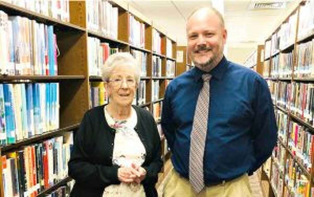 Trumbull Library System's Director, Stefan Lyhne-Nielsen, and Non-Fiction Book Group facilitator, Joan Hammill.
