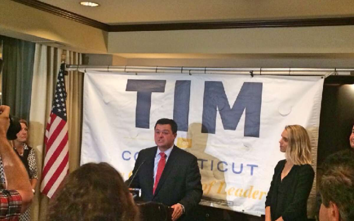 Tim Herbst speaks to supporters after conceding the GOP gubernatorial primary to Bob Stefanowski.
