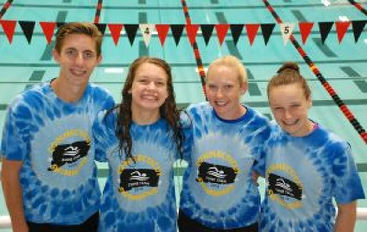 Trumbull Pisces at the Eastern Zones Championships were Liam Crecca, Liz Stoelzel, coach Colleen Carroll and Kristen Racicot.