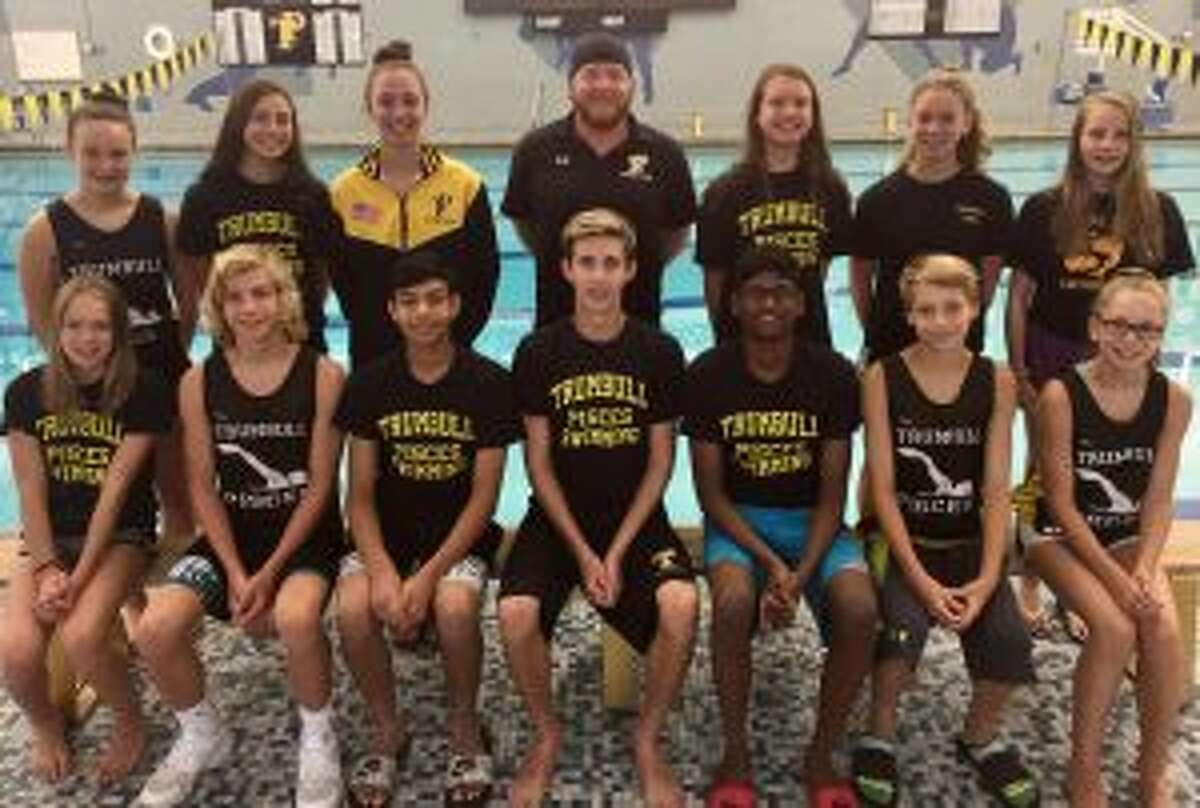 Leading the Trumbull Pisces at the Senior Championships (front row) were: Caitlyn Dale, Cameron Kosak, Raj Padda, Liam Crecca, Rohit Gunda, Alex Ivanovich and Loralai Dale; (second row) Kristen Racicot, Norah Hampford, Julia Nevins, coach Bill Strickland, Liz Stoelzel, Jackie Dale and Audrey Kehley. Missing from photo is Erin Racicot.