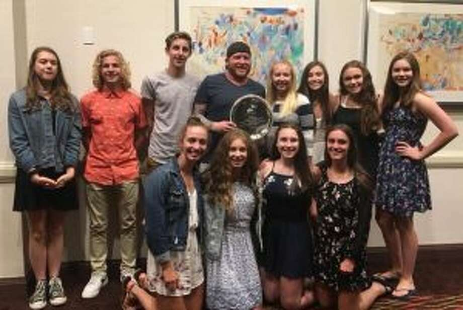 Trumbull Pisces feted (front row) are: Julia Nevins, Jackie Dale, Erin Racicot and Blake Asaro; (second row) Liz Stoelzel, Cameron Kosak, Liam Crecca, coach Bill Strickland, coach Colleen Carroll, Norah Hampford, Anna Haydostian and Grace Carravone.