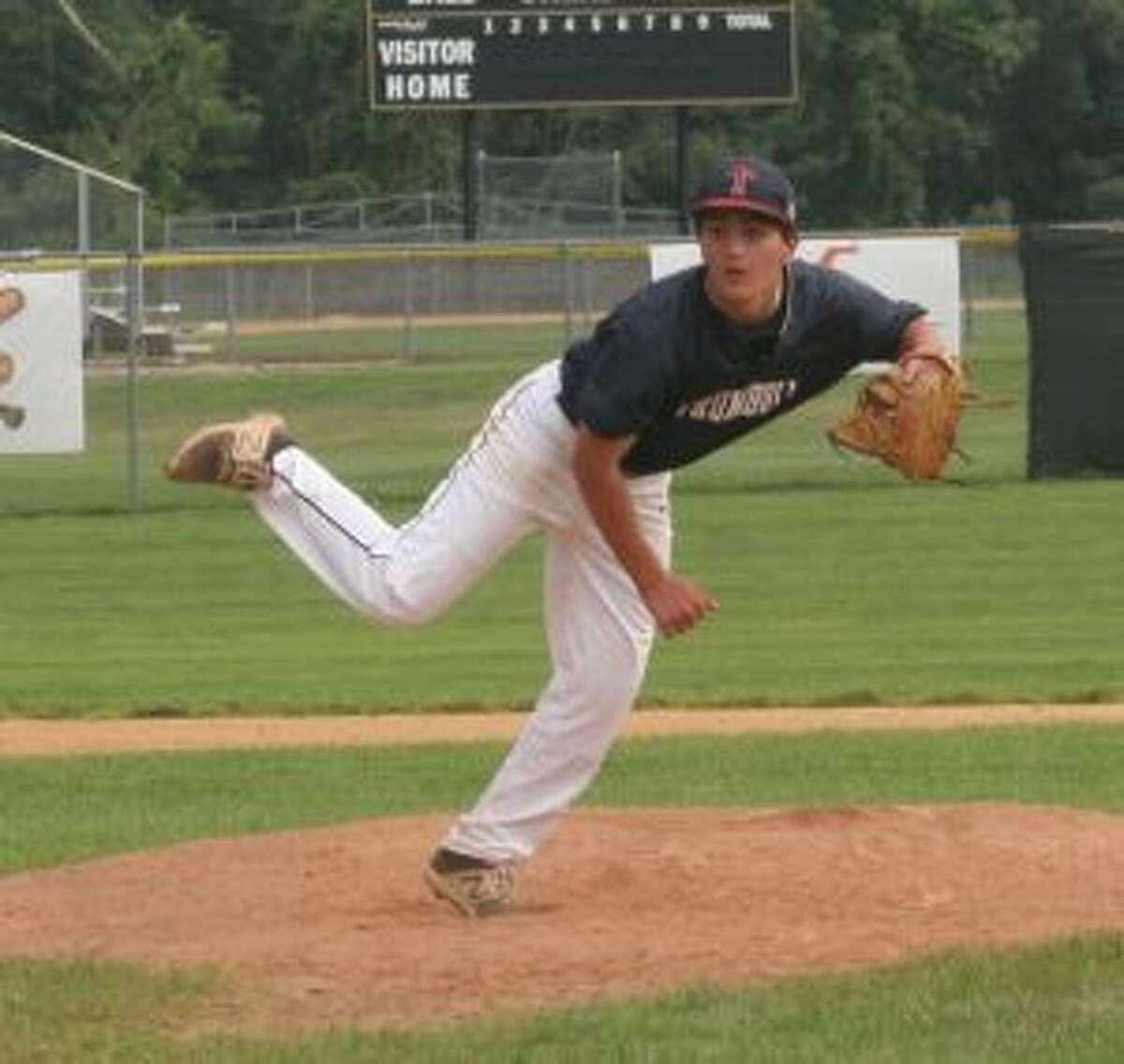 Rickey Mariani pitched five shutout innings for Trumbull. - Bill Bloxsom photos
