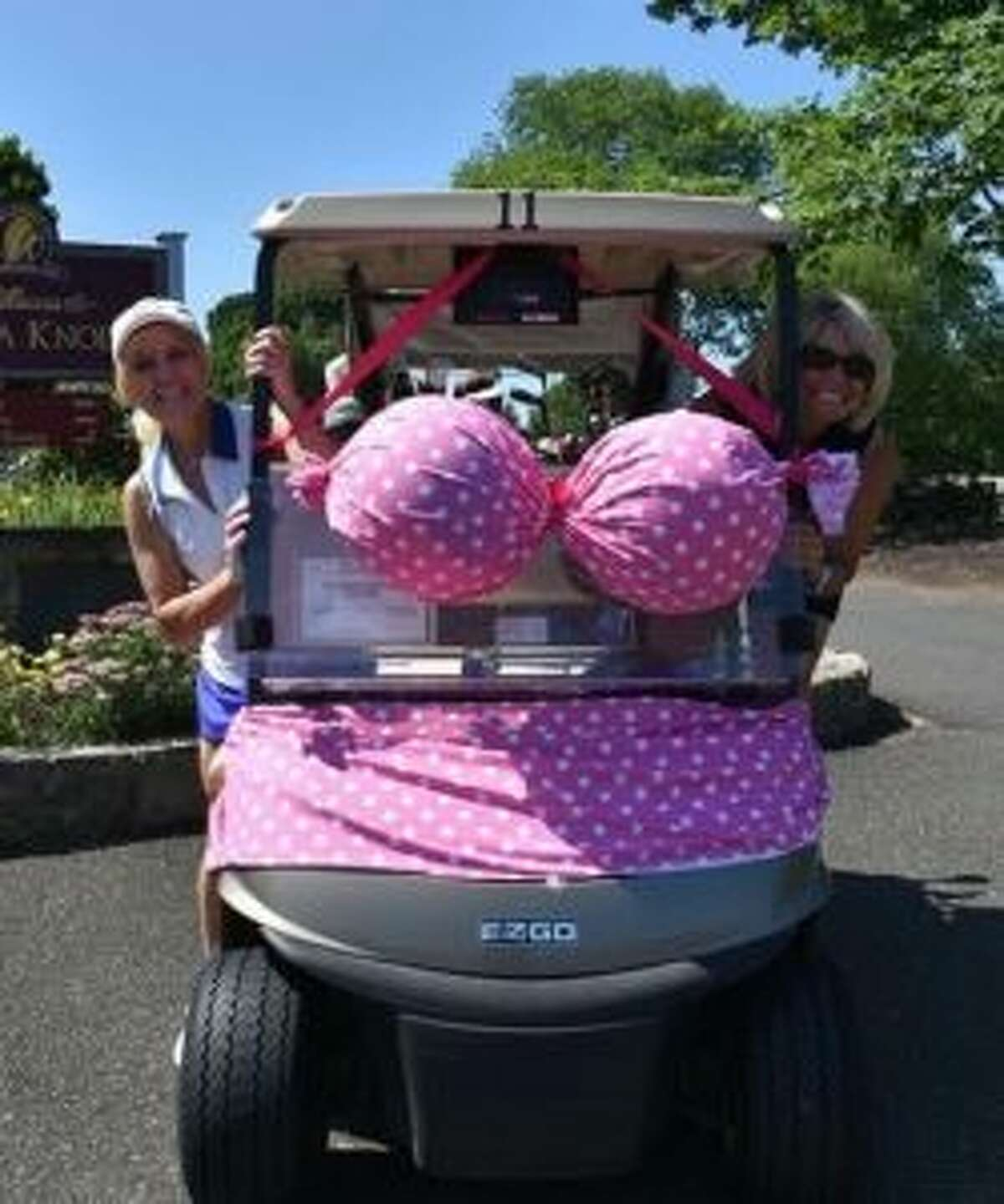 Ellen Fox from Oxford and Jeanmarie Montabana from Trumbull won the prize for best decorated golf cart.
