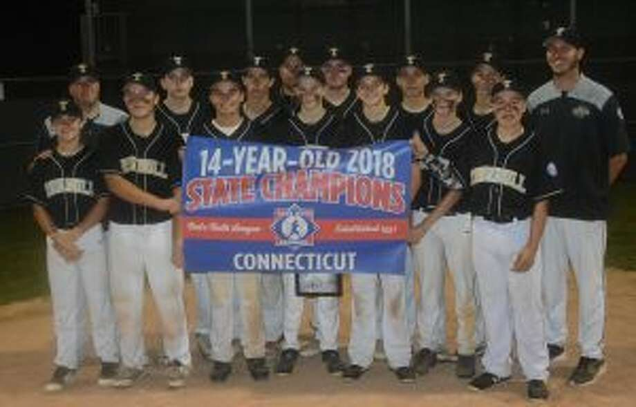 Trumbull Babe Ruth won the 14-year-old state championship with a 2-1 victory over Newtown. Team members are: Jack Wallace, Bryan Kraus, Justin Delaney, Dylan Moran, Johnny Bova, Jack Ligouri, Michael Brown, Grayson Defelice, Eric Osterberg, Niko Coclin, Charlie Langworth and Joey Derienzo, manager Mike Buswell and coaches John Bova and Tyler Feldman — Andy Hutchison photos
