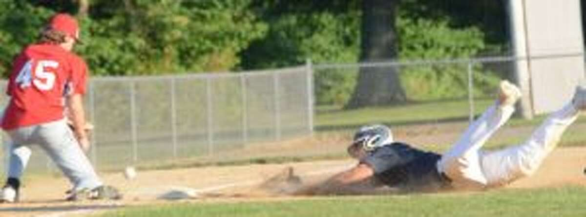 Vin DeRubeis slides in safely with a triple. He also had two doubles.