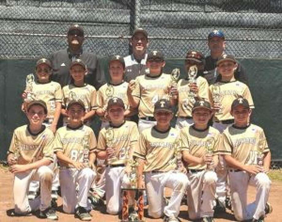 Trumbull Travel 10U Black team members (front row) are: Pictured are Josh Green, Trevor Schuelke, Colin Natlo, Giovanni Albaladejo, Sean Haight and Jack Buck; (second row) Ayden Magliocco, Andrew Valentino, Owen Burke, Garrett Wood, Kaelon Commodore and Vinny Lombardo; (third row) coach Angelo Magliocco, manager Keith Lojko and coach Bill Natlo.