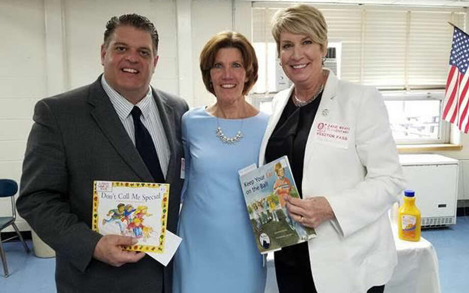 State Rep. David Rutigliano with Jane Ryan Elementary School Principal Mary Ellen Bolton and State Rep. Laura Devlin.