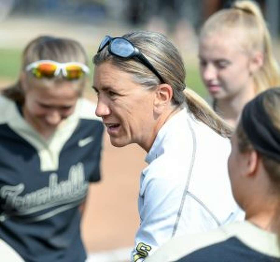 Trumbull head softball coach Jacqui Sheftz was feted by the CHSCA. — David G. Whitham photo