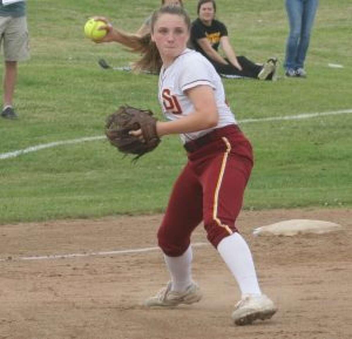 Cami Heintz makes a fine play on a chopper to third base.