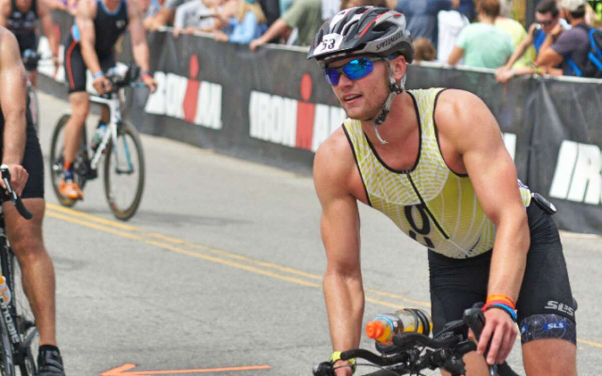 Trumbull resident John Sullivan, shown here at the Lake Placid Iron Man 2017, is riding across the country to raise money for mental health support. -Mike Sullivan photo