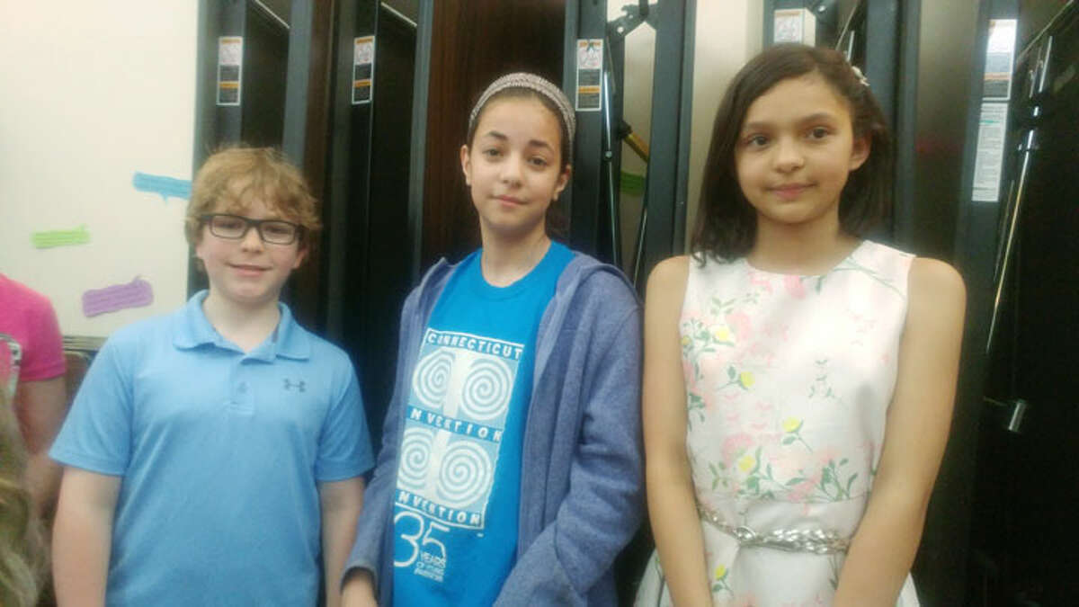 Pictured are Noah Scrofani, Maddie Wilkins, and Isabella DiMarino from Tashua Elementary School, who will be going to Michigan.