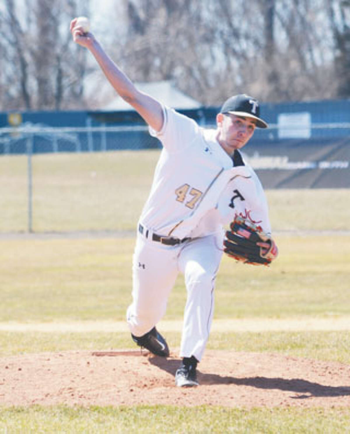 Trumbull's Ben Fero pitched a no-hitter in the FCIAC quarterfinals on Monday, but the Eagles fell to Darien 1-0 on an unearned run.