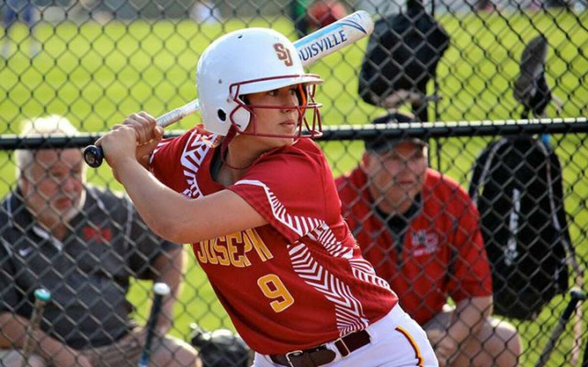 St. Joseph's Kayla Giacobbe awaits a pitch during the Cadets' 3-0 win over New Canaan on Friday, May 11. - Terry Dinan photo