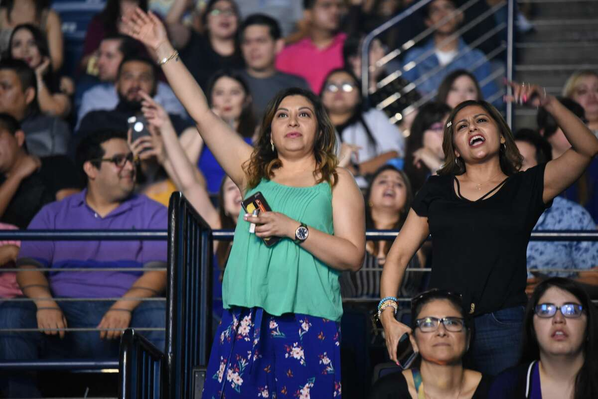 Wisin y Yandel fans gather at the Sames Auto Arena to enjoy the Reggaeton duo and witness the lights and pyrotechnics, Sunday, June 2, 2019.