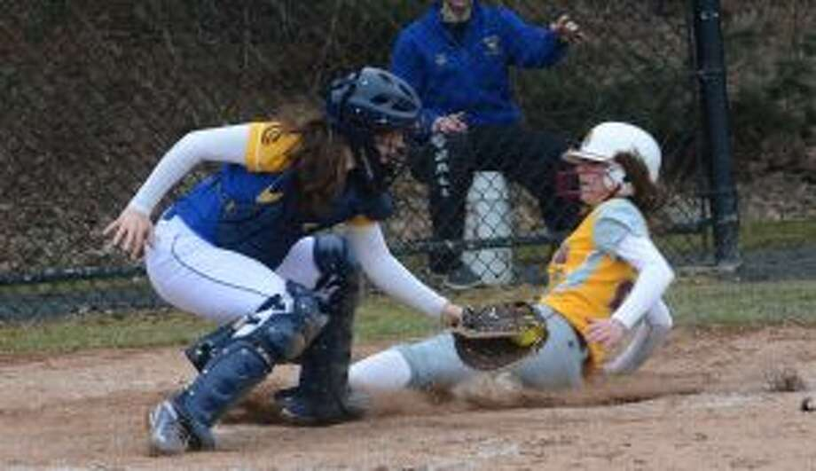 Alyssa Noce hustled home when a third strike went to the backstop in the sixth inning. — Andy Hutchison photos