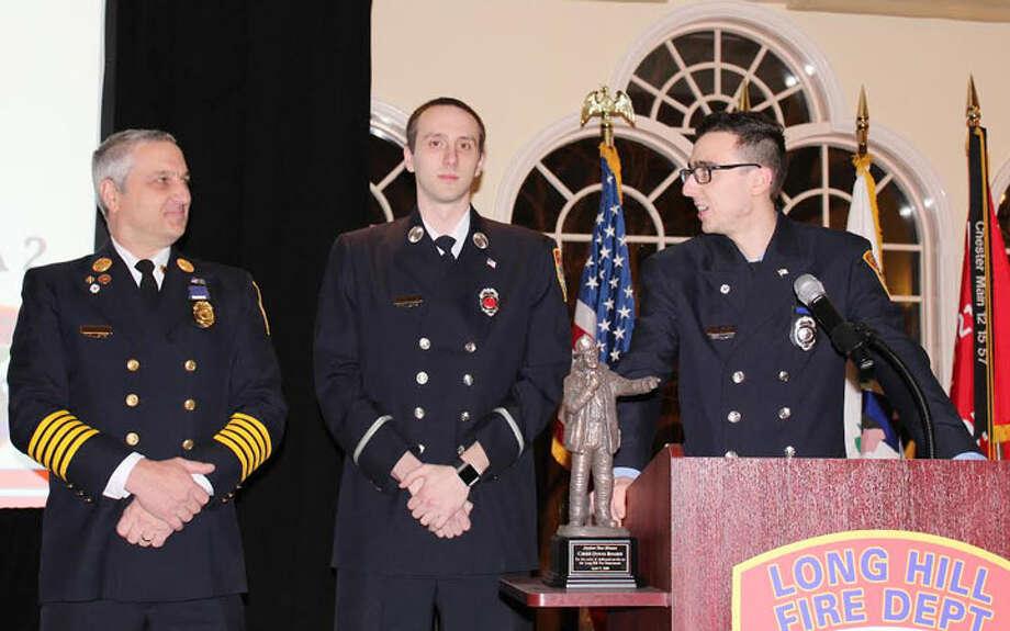 Past Chief Doug Bogen with sons, Lieutenant Shaun Bogen and Firefighter Ryan Bogen.