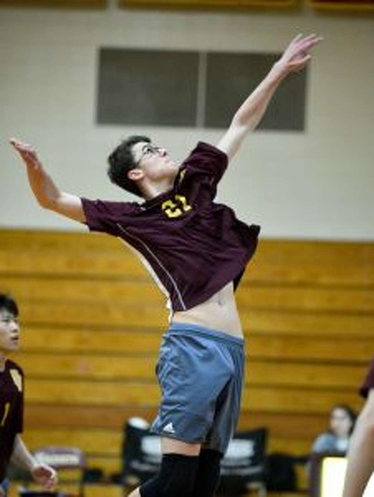 St. Joseph's Ian Argento delivers a spike. - David G. Whitham photo