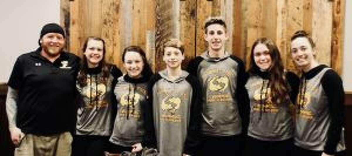 Head coach Bill Strickland, Liz Stoelzel, Kristen Racicot, Alexander Ivanovich, Liam Crecca, Anna Haydostian and Julia Nevins at the Eastern Zones Championships.