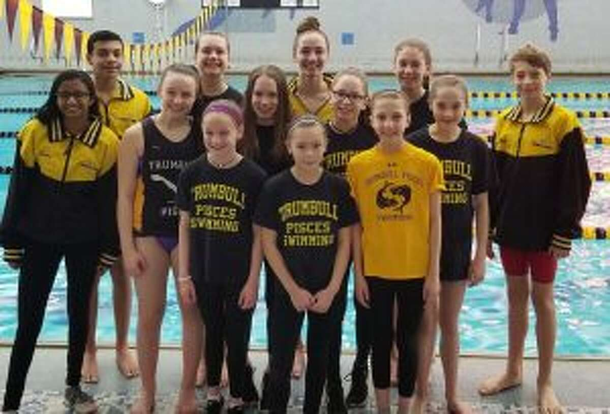 Swimmers competing (front row) included: Keira Redgate, Lizbeth Constante and Sarah Johnson; (second row) Anisha Kurup, Kristen Racicot, Caitlyn Dale, Loralai Dale, Hope Ivanovich and Alex Ivanovich; (third row) Raj Padda, Liz Stoelzel, Julia Nevins and Jackie Dale. Missing from photo are Cameron Kosak and Nancie Ziegler.