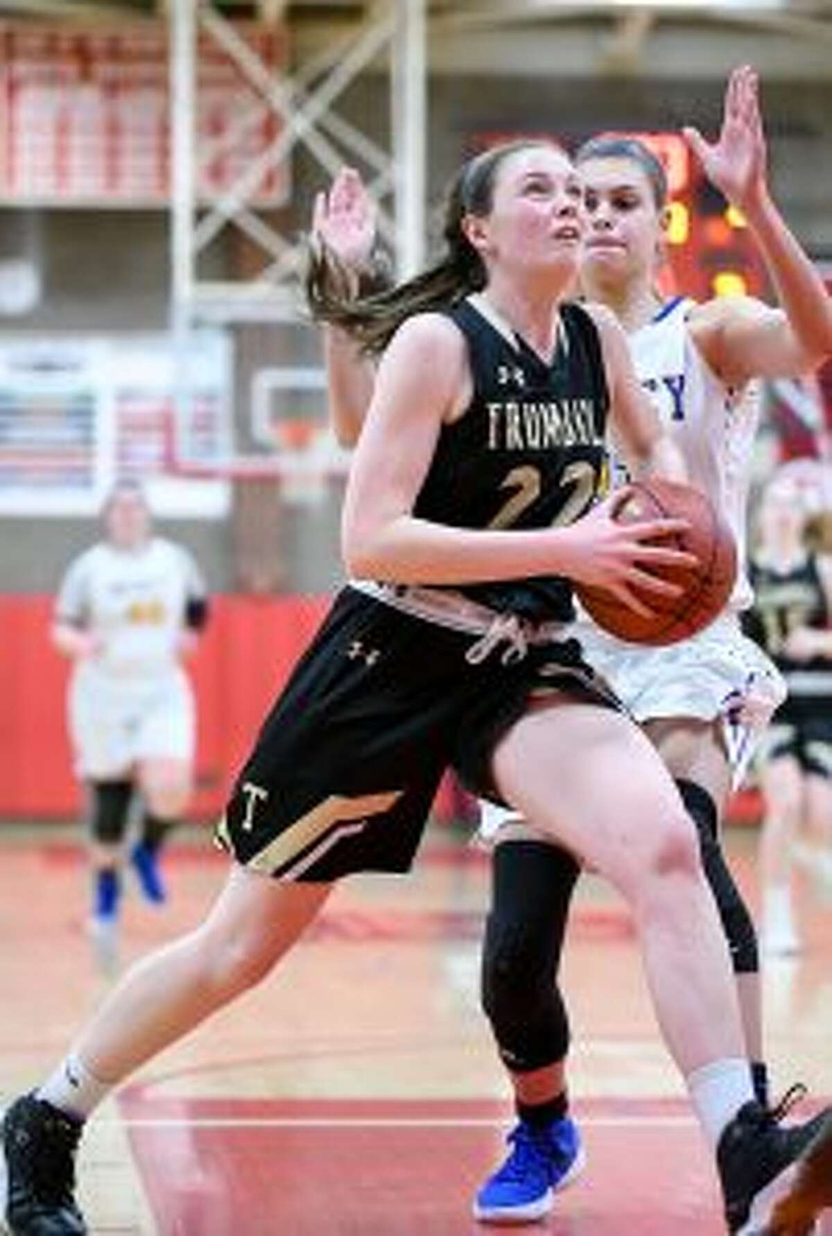 Aisling Maguire attacks the basket in the state semifinal. - David G. Whitham photos