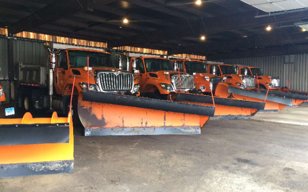 Snow plows are ready at the town's Public Works garage. As of noon, snow had not begun sticking to roads.