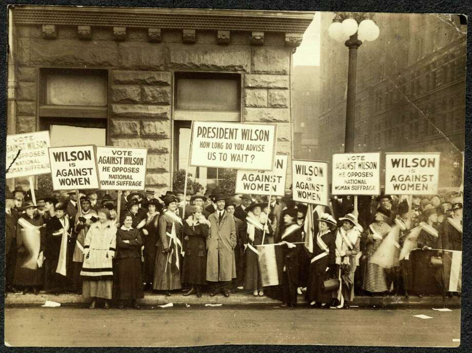 Protests by suffragists, such as these shown in 1916 in Illinois, led to passage of the Constitution's 19th Amendment in 1920, giving women the right to vote. Photo: Library Of Congress / Library of Congress