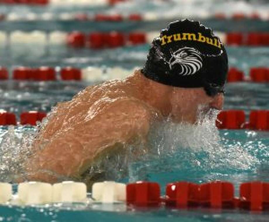 Anthony Lemma competes for Trumbull in the 400 medley relay. — Dave Stewart photo
