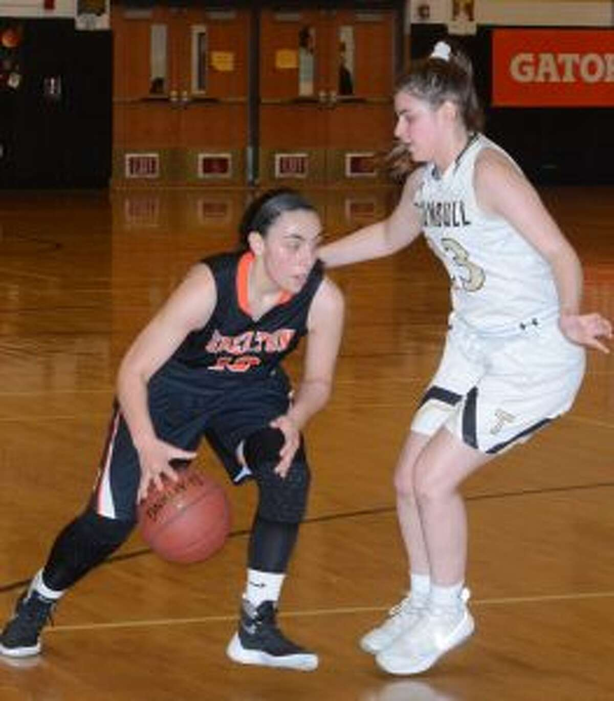 Julie Keckler looks to stop Shelton's Kayla Resto during Trumbull's Class LL game. - Andy Hutchison photo