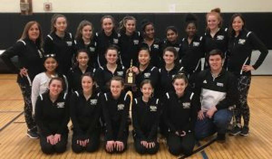 The Trumbull High gymnastics team placed second at the FCIAC championships. Team members (front row) are: Olivia Hogan, Allie Koch, Dale Kivits, Rachel Kapteina and Gillian Primavera; (second row) manager Betsy Hernandez, Ashleigh Johnson, Natalie Smerling, Samantha Markland and manager Collin McMahon; (third row) coach Cathy McMahon, Sarah Gold, Olivia Vlachgionnis, Leah Karlan, Samantha Benitez, Samaura Steels, Rassica Bakane, Chantal Boyd, Callan Vaughn and coach Celina Huber.