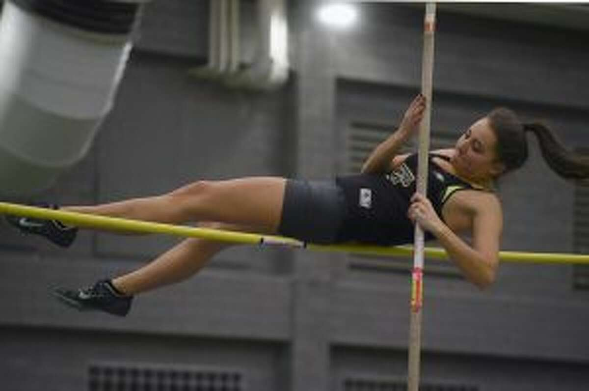 Aleksandra Misiewicz placed third in the pole vault. - Dave Stewart photo