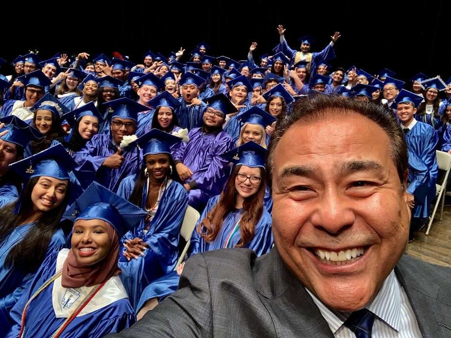 John Quiñones was the commencement speaker for the Harmony Science Academy-San Antonio Class of 2019 at Trinity University on Friday, May 31. Photo: Lisa Mendez Photography