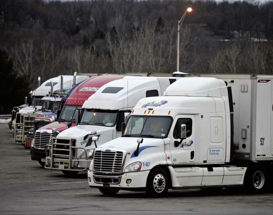Trucks parked at a rest stop on Interstate 95. Photo: File Photo / The News-Times