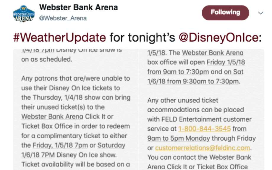 Tonight's Disney on Ice show is on as scheduled, but tickets for the show can be redeemed tomorrow or Saturday.