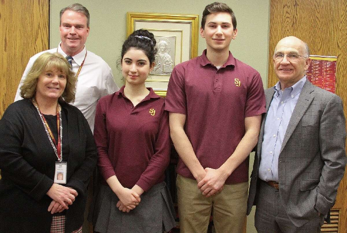 Anna Argulian, third from left, and Christopher Rossetti, fourth from left, have been named valedictorian and salutatorian of St. Joseph High School's Class of 2019. Also shown, from, left are Assistant Principal Nancy DiBuono, Principal James Keane, and Head of School William Fitzgerald.