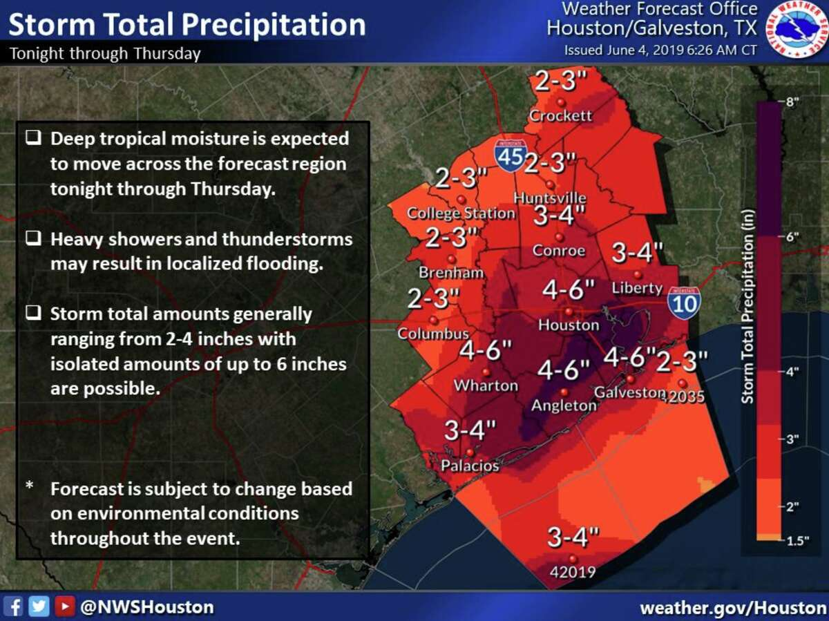 The National Weather Service predicts between 4 and 6 inches of rainfall for Houston as a tropical disturbance pushed through Southeast Texas on Tuesday, June 4, 2019.