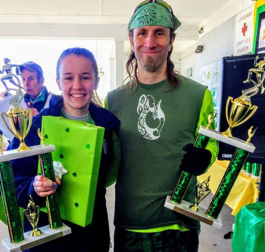 Kate Romanchick and Tim Milenkevich crossed the finish line first at the24thSt. Patrick's Day Classic Road Race.