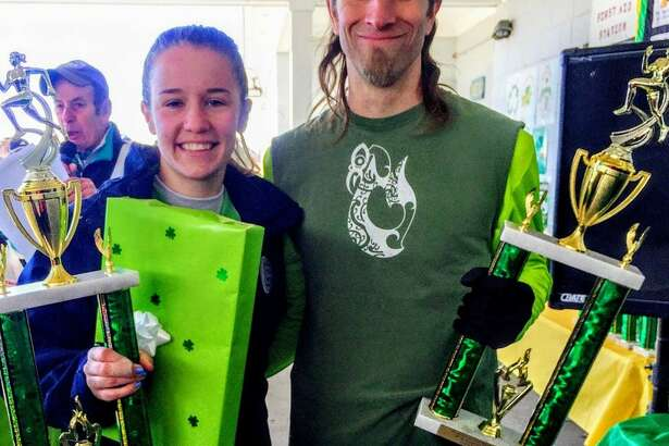 Kate Romanchick and Tim Milenkevich crossed the finish line first at the 24th St. Patrick's Day Classic Road Race.