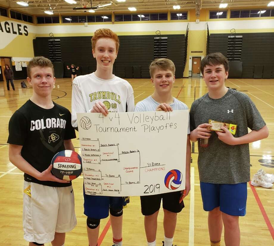 Henry Carlson, Anthony O'Sullivan, Derek Zielinski and Brendan Maguire captured first place in the 8th annual 4x4 Volleyball Tournament.