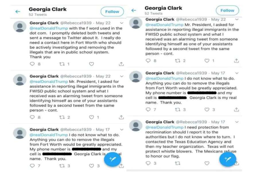Some of Georgia Clark's tweets to President Trump. (Fort Worth ISD) Photo: File/Twitter