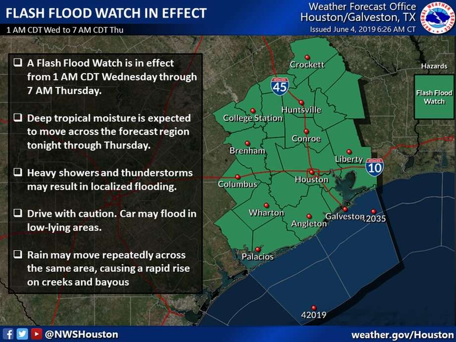 The U.S. National Weather Service has issued a flash flood watch for Fort Bend County beginning Tuesday, June 4, 2019, night through Thursday, June 6, 2019, morning. Photo: U.S. National Weather Service