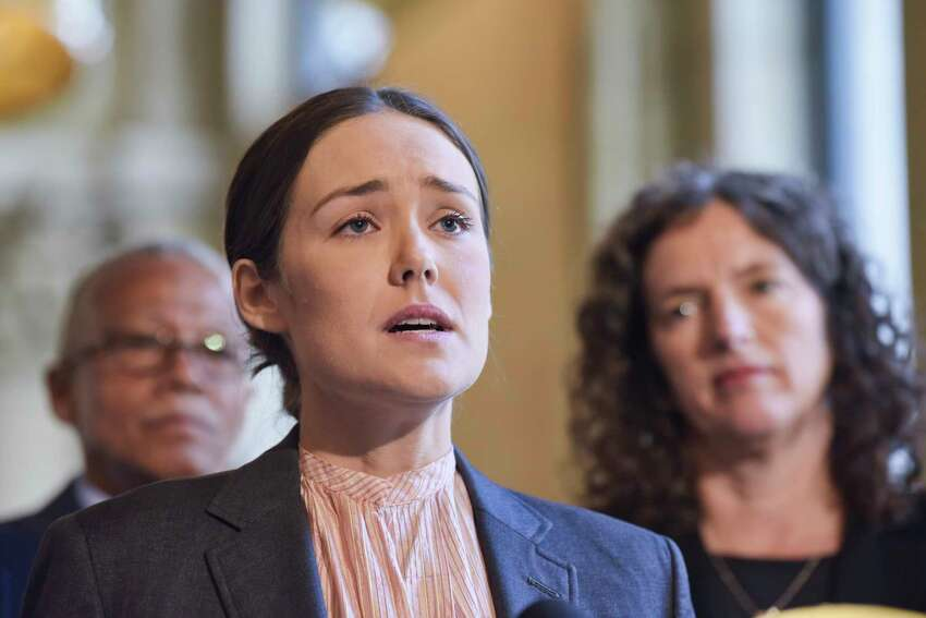 Actor Megan Boone along with Senators, Assembly members and other supporters of climate legislation hold a press conference to discuss their push for legislation on Tuesday, June 4, 2019, in Albany, N.Y. (Paul Buckowski/Times Union)