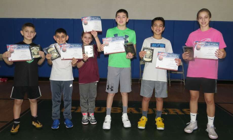 Christopher Lenzen Jr, Elias Eid, Kylie Manuel, David Melson, Brian Elmo Jr and Grace Trotta earned free-throw shooting titles. Missing from photo are Tyler Rodriguez, Addie Chamberlain and Caitlyn Elmo.