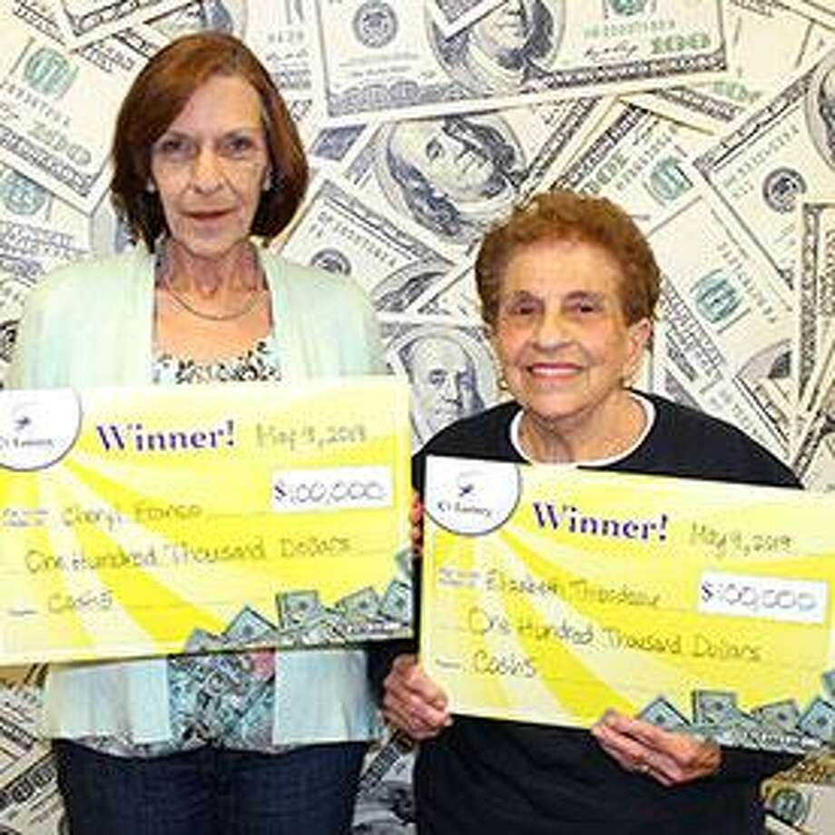 Mother and daughter Cheryl Franco, of North Haven, and her mother, Elizabeth Thibodeau, of Hamden, both played the birth dates of Thibodeau's five grandchildren to win $100,000 each in theCash 5 game. Photo: CT Lottery Photo