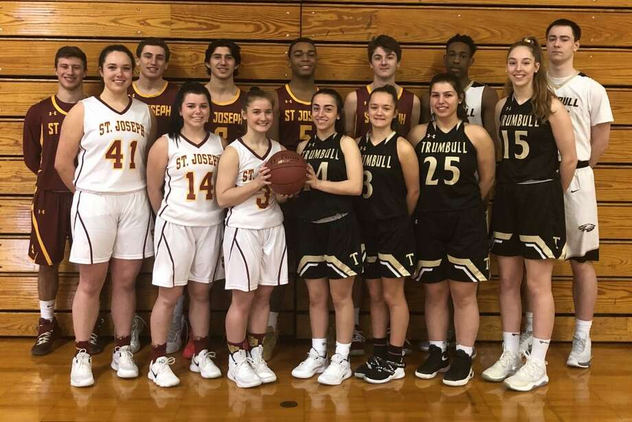 Emma Elrod, Kaitlin Capobianco, Kathryn Zito, Kelly O'Leary, Meghan Lesko, Gianna Ghitsa and Krystina Schueler; (second row) Ace Luzietti, Dan Tobin, Stephen Paolini, Kyren Jones, Brendan Kade, Timmond Williams and Evan Gutowski will lead their teams on to the hardwood at Fairfield University.