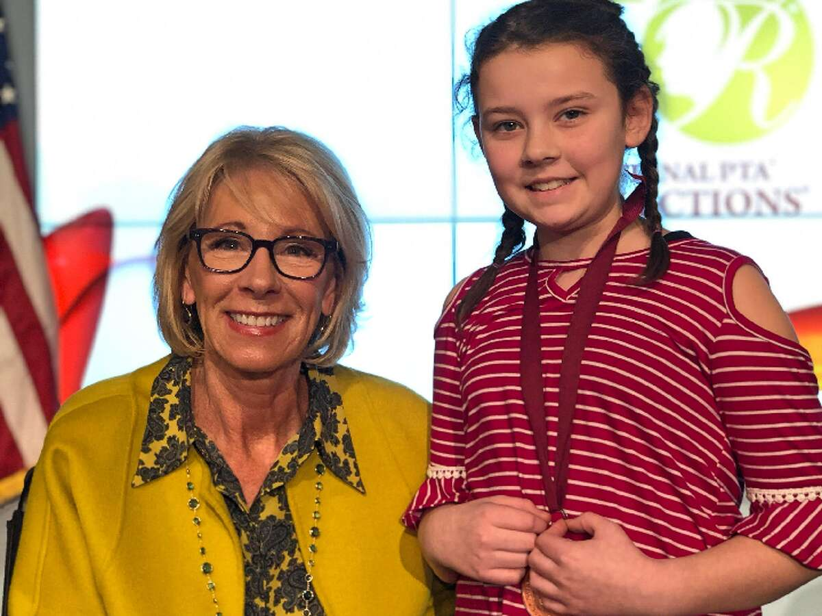 Hillcrest student Danika Curtin was recently honored for her writing at a U.S. Department of Education event, where she got to meet Education Secretary Betsy DeVos. - Submitted