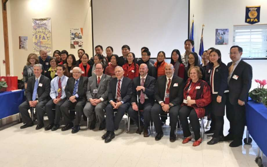 A group of 24 educators from China recently visited Trumbull to meet with local school officials and sit in on classes. — Submitted photo